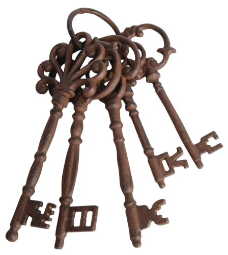 Esschert Design DB63 Set of Large Cast Iron Keys on Ring ()