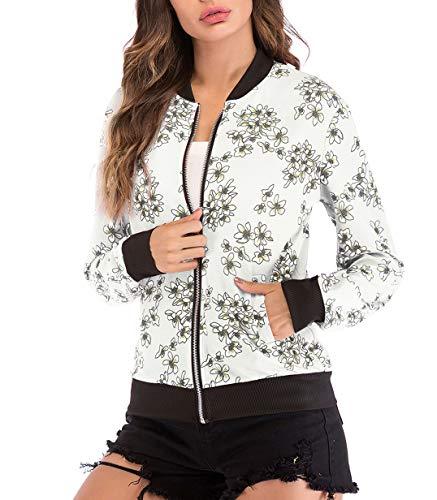Printemps Casual Blousons Longues Imprim Manches Jacket Top Bomber Automne Femmes Outerwear Jeune Fashion SSZ1U