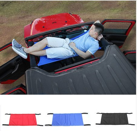 Niceautoitem 3Colors Car Roof Hammock Car Bed Rest Bed Pads for Jeep Wrangler 2007-2017 (Red)