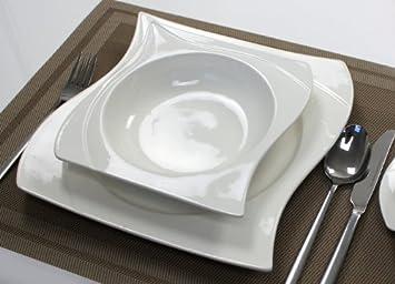 Teller Set Eckig 56 teilig tafelservice ess service porzellan set geschirr eckig 12