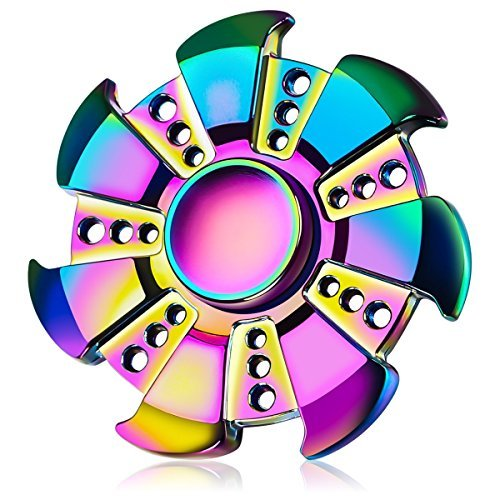 Iridescent Rainbow Fidget Spinner for Adults & Kids Anti-Anxiety Focus Stress Reliever Reducer ADHD Boredom Finger Hand Toy- Stylish Saw Design