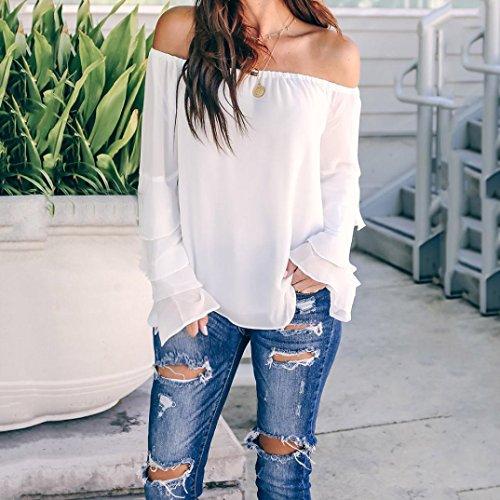 Blanc Longues Manches de Tops zahuihuiM Printemps Femmes Flare Mode L'paule Nouveau T Slash Manches Shirt Cou Automne Blouses Hors Solid pqHPwOqS