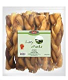 GigaBite 6 Inch Low-Odor Braided Bully Sticks (10 Pack) - USDA & FDA Certified All Natural, Free Range Beef Pizzle Dog Treat - by Best Pet Supplies