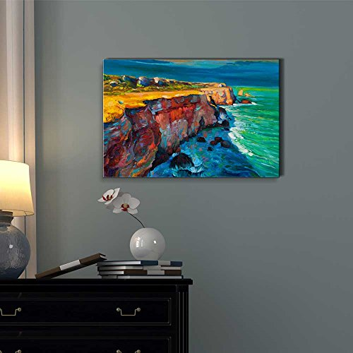 Abstract Oil Painting of Cliffs and Ocean Impressionism Home Deoration Wall Decor