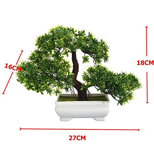 Fashionwu Bonsai Tree Mini Artificial Plant, Not Faded Office Home Decoration (1 Pcs Green)