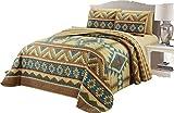 King Size Complete Bedding Set Micasa 7 Piece Oversized Bedspread Quilt Set with Complete Sheet Set Western Southwestern Native American Tribal Navajo Design (Cal.King)