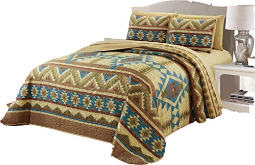 Micasa 7 Piece Oversized Bedspread Quilt Set with Complete Sheet Set Western Southwestern Native American Tribal Navajo Design (King)