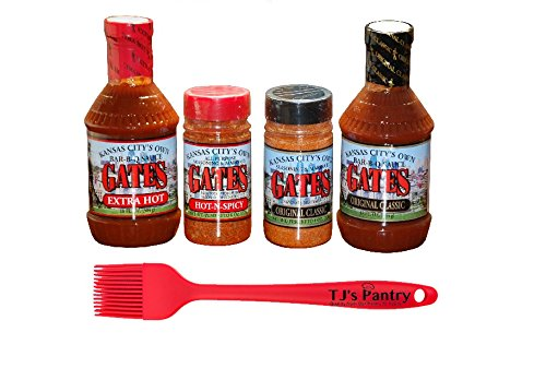 [Gates BBQ Sauce and Dry Rub Variety Bundle - 4 Pack + Bonus TJs Pantry Silicone Basting Brush!] (Dry Sauce)