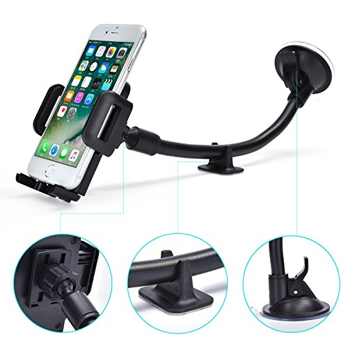 Suction Cup Window Holder (Cell Phone Holder for Car Windshield Long Arm Car Mount Universal 360 Rotating Flexible with One Button Design, Strong Suction Cup and Anti-skid Base for iPhone X/8/7/7P/6s/6P/5S, Huawei and More)