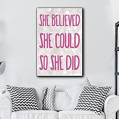 Bold Inspirational Quote She Believed She Could So She Did Pink on Champagne Bokeh Background - Home Dorm Room Art - Canvas Art Home Art - 32x48 inches