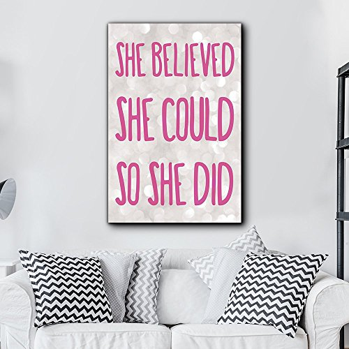 Bold Inspirational Quote She Believed She Could So She Did Pink on Champagne Bokeh Background Home Dorm Room Decor