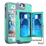 iPhone 6 Plus / 6s Plus Wallet Case, Ankoe Three Layer Shockproof Protection Heavy Duty Case with Card Holder and Hidden Back Mirror & Kickstand Case for iPhone 6 Plus / 6S Plus 5.5 inch (Mint)