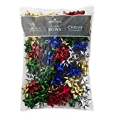 Hallmark Holiday 3″ Bow Assortment (75 Bows; Red, Green, Blue, Gold, Silver) for Christmas Gifts