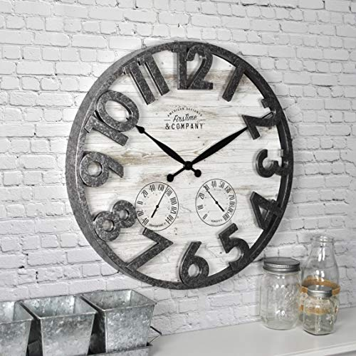 MISC Shiplap Wall Clock Distressed Background Large Numbers Thermometer Hygrometer Hanging Indoor/Outdoor Timepiece, 18
