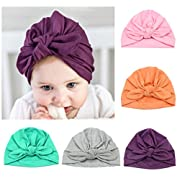 3 Pcs Newborn Hospital Hat Infant Baby Hat Cap with Big Bow Soft Cute Knot Nursery Beanie,One Size,Pink, Orange, Purple, Grey, Green