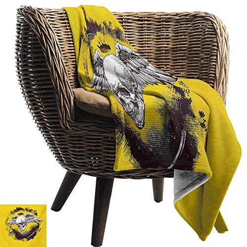 BelleAckerman Beach Blanket,Tattoo,The Death Angel Crowned Skull Drawing with Wide Magnificent Feather Wings,Yellow Back and White,Cozy and Durable Fabric-Machine Washable 60