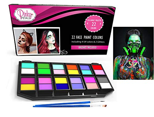 Face Paint Kit for Kids and Adults - 12 Colors XL Set 1 Glitter 1 UV Glow Color (24 Colors) ()