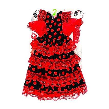 Folk Artesanía Vestido, Pendientes, Percha, peinetas y castañuelas Flamenca Andaluza muñeca Nancy clásica de Famosa (Rojo Lunar Negro)