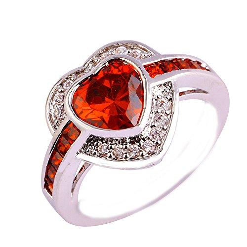 Empsoul Women 925 Sterling Silver Natural Chic Filled Garnet & White Topaz Heart Shaped Engagement Wedding Ring