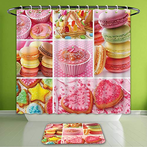Waterproof Shower Curtain and Bath Rug Set Colorful Collage of Cupcakes Macarons Biscuits Delicious Deserts Candies Heart Shaped Cakes MUL Bath Curtain and Doormat Suit for Bathroom 60