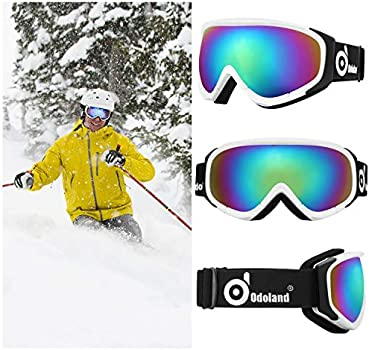 Snow Snowboard Goggles for Youth Skiing Age 8-16 S2 Double Lens Anti-Fog Windproof UV Protection Motorcycle Snowboarding Odoland Kids Ski Goggles Snowmobile Winter Outdoor Protective Glasses