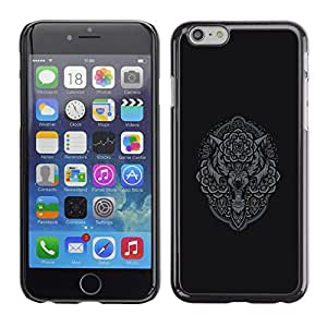 LECELL--Funda protectora / Cubierta / Piel For Apple iPhone 6 -- Grey Owl Wolf Native Pattern Indian --