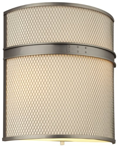 Forecast Lighting F1975-16U I Beam Two-Light Energy Efficient ADA Compliant Wall Sconce with Metal Weave Shade and Vanilla Fabric Liner, Gun Metal