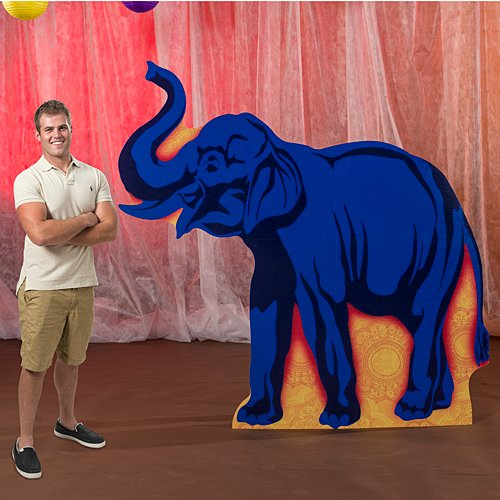 7 ft. Thailand Journey Right Facing Elephant Silhouette Standup Photo Booth Prop Background Backdrop Party Decoration Decor Scene Setter Cardboard Cutout
