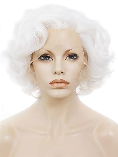 Imstyle 2015 Rubio Corto grandes rizado peluca Marilyn Monroe peinado sintético Lace Front Peluca