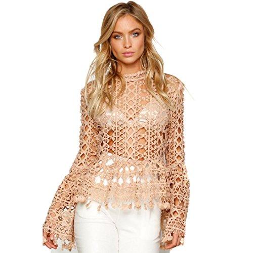 Sinma Sexy Womens Knitting Shirt, Turtleneck Hollow out Long Sleeve Blouse Tops T-Shirt (S, Khaki) (No Hassle Linen Shirt Jacket)