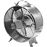 Art Deco/Retro Metal Desktop Fan - by Cerebrum Shoppe (Stainless)