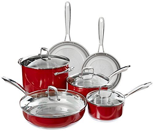 KitchenAid KCSS10ER Stainless Steel 10-Piece Cookware Set - Empire Red