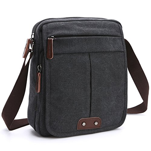 Canvas Crossbody for Men Vintage Small Retro Canvas Messenger Shoulder Bags Classic Travel Satchel Purse Black/Brown/Army Green(8842) (MKP-MG-8842-BK) (Classic Mini Satchel)