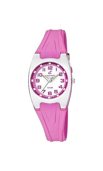 Calypso - Reloj de Cuarzo para Mujer con Correa de plástico en Color Blanco Esfera analógica Pantalla y Rosa K6042/C: Amazon.es: Relojes