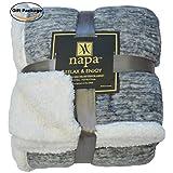"Napa Super Soft Micro Fleece Reversible Sherpa Plush Bed Throw TV Blanket 50"" x 70"" Snow Grey"