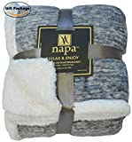 Sherpa Throw Blanket Grey Snow 50