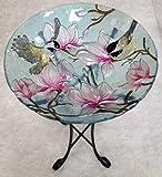 18%22 Chickadee Glass Bowl%2Fbirdbath an