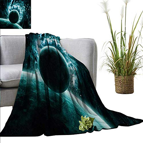 AndyTours Summer Blanket,Space,Solar System Landscape with a Planet in Vast Motion UFO Asteroid Mystic Orbit View Print,Teal,300GSM, Super Soft and Warm, Durable 50