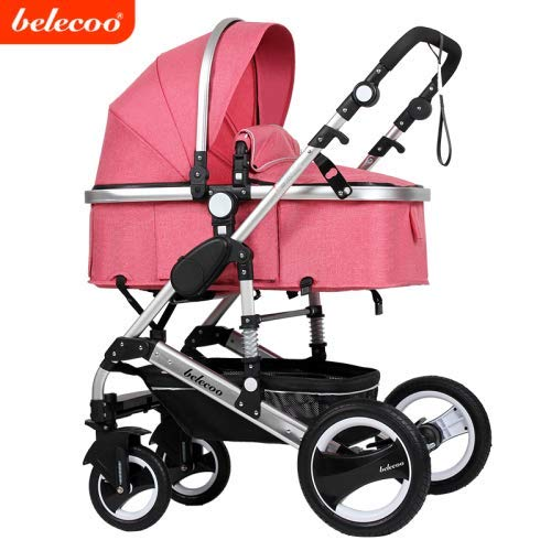 Belecoo Baby Stroller for Newborn and Toddler – Convertible Bassinet Stroller Compact Single Baby Carriage Toddler Seat Stroller Luxury Stroller with Cup Holder (Linen Rose W/ Gold Frame)