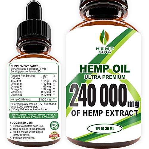 51FXmcWCAnL - Hemp Oil Drops 240 000 mg, 100% Natural Extract, Anti-Anxiety and Anti-Stress, Natural Dietary Supplement, Rich in Omega 3&6 Fatty Acids for Skin & Heart Health, Vegan Friendly