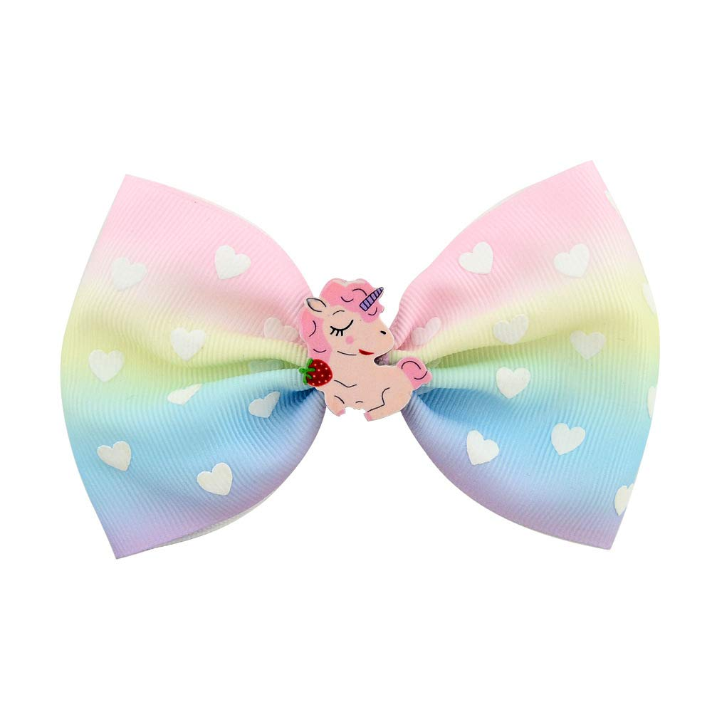 SUKOKOLA 6Pcs//Set Cartoon Mermaid Rainbow Thread Belt Bow Hair Clips Hair Accessories for Girls Toddlers