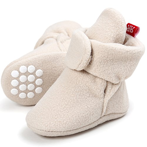 CIOR Baby Cozy Fleece Booties with Non Skid Bottom,DNDXBX,Khaki,6-12 (Infant Girls Bootie)