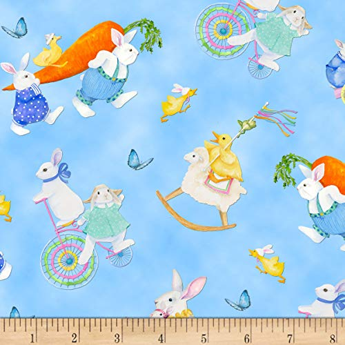 Easter Bunny Parade (Henry Glass & Co. Henry Glass Easter Parade Bunnies & Chicks Allover Blue, Fabric by the)