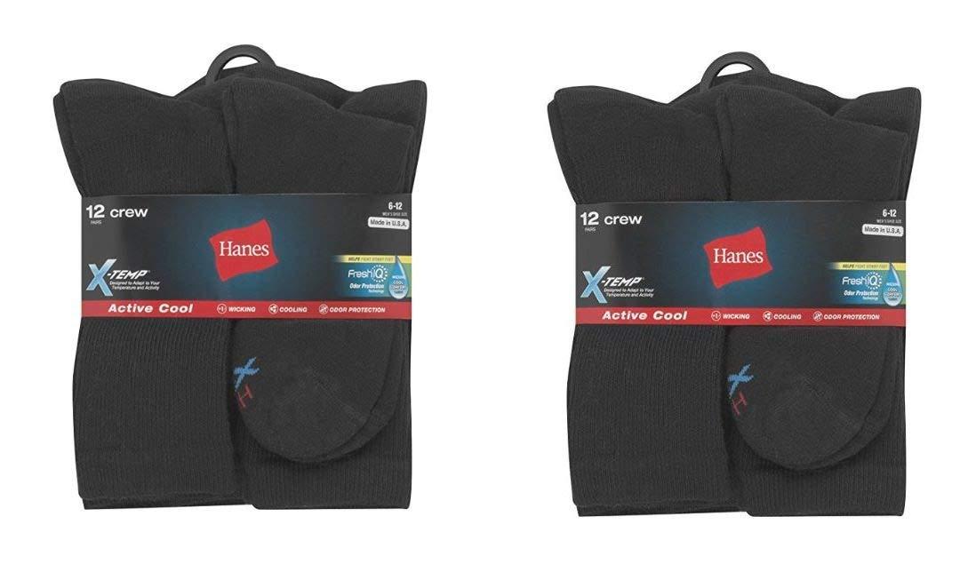 Mens Active Cool Crew Socks, Black, Sock Size 10-13 Shoe Size 6-12, 24 Pack