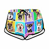 InterestPrint Women's Portraits of Cute Dogs Summer Casual Shorts S