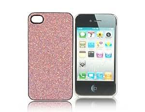 Protección Glitter Diseño transparente Side Border Frame Volver caso de la piel cubierta de Shell para Iphone 4 G (Rosa)