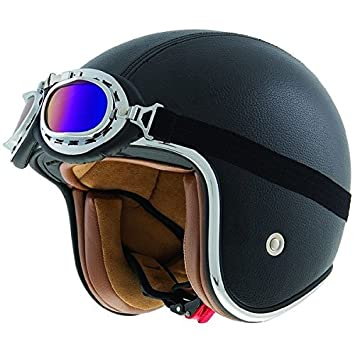 Shiro SH-234 Bad Boy - Casco de moto (piel), color negro