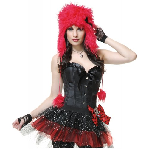 [Monster Hood Costume Accessory] (Red Furry Monster Costume)