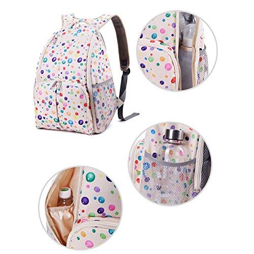 Bebé de diseño de lunares de la capacidad de pañal para quitarlo fácilmente una bolsa de regalos bolsa de pañales + de la mochila de una mochila o bolso extrañas de la momia bolsa para la compra de ce beige