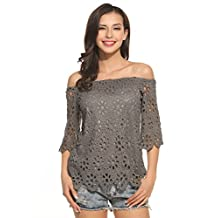 Meaneor Women Lace Crochet Off Shoulder 3/4 Flare Sleeve Loose Tops Blouse